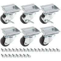 Avantco 178A2PCKIT6 2 1/2 inch ADA Height Swivel Plate Casters with Mounting Hardware - 6/Set