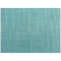 Front of the House XPM125HBV83 Metroweave 16 inch x 12 inch Teal Mesh Woven Vinyl Rectangle Placemat - 12/Pack