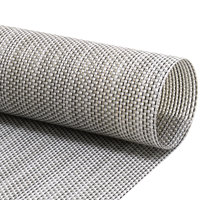 Front of the House XPM098GYV83 Metroweave 16 inch x 12 inch Gray Mesh Woven Vinyl Rectangle Placemat - 12/Pack