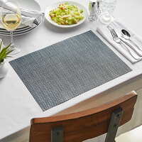 Front of the House XPM077DBV83 Metroweave 16 inch x 12 inch Indigo Basketweave Woven Vinyl Rectangle Placemat - 12/Pack