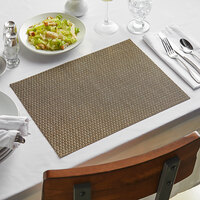 Front of the House XPM022BEV83 Metroweave 16 inch x 12 inch Beige Rattan Woven Vinyl Rectangle Placemat - 12/Pack