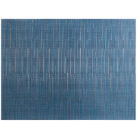 Front of the House XPM119BLV83 Metroweave 16 inch x 12 inch Blues Rush Woven Vinyl Rectangle Placemat - 12/Pack