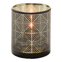 Hollowick 5120 Sussex Black and Gold Geometric Glass Votive
