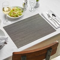 Front of the House XPM108BKV83 Metroweave 16 inch x 12 inch Carbon Rush Woven Vinyl Rectangle Placemat - 12/Pack