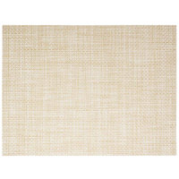 Front of the House XPM047NAV83 Metroweave 16 inch x 12 inch Natural Basketweave Woven Vinyl Rectangle Placemat - 12/Pack