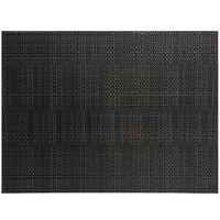 Front of the House XPM118BKV83 Metroweave 16 inch x 12 inch Black Random Weave Woven Vinyl Rectangle Placemat - 12/Pack