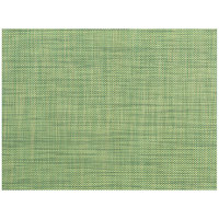 Front of the House XPM122GRV83 Metroweave 16 inch x 12 inch Emerald Mesh Woven Vinyl Rectangle Placemat - 12/Pack