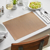 Front of the House XPM069COV83 Metroweave 16 inch x 12 inch Canyon Basketweave Woven Vinyl Rectangle Placemat - 12/Pack