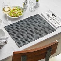 Front of the House XPM035BKV83 Metroweave 16 inch x 12 inch Black Large Basketweave Woven Vinyl Rectangle Placemat - 12/Pack