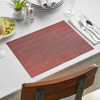 Front of the House XPM094RDV83 Metroweave 16 inch x 12 inch Red Urban Woven Vinyl Rectangle Placemat - 12/Pack