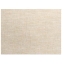 Front of the House XPM121NAV83 Metroweave 16 inch x 12 inch Natural Tweed Woven Vinyl Rectangle Placemat - 12/Pack