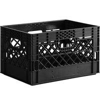 Black 24 Qt. Rectangular Milk Crate - 18 3/4 inch x 13 inch x 11 inch