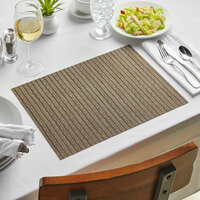 Front of the House XPM079ESV83 Metroweave 16 inch x 12 inch Mocha Urban Woven Vinyl Rectangle Placemat - 12/Pack