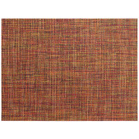 Front of the House XPM127ORV83 Metroweave 16 inch x 12 inch Saffron Twill Woven Vinyl Rectangle Placemat - 12/Pack