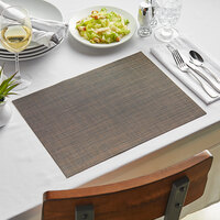 Front of the House XPM086COV83 Metroweave 16 inch x 12 inch Copper Mesh Woven Vinyl Rectangle Placemat - 12/Pack