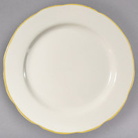 CAC SC-8G 9 inch Scalloped Edge Ivory (American White) Seville China Plate with Gold Band - 24/Case