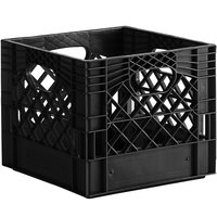 Black 16 Qt. Customizable Square Milk Crate - 13 inch x 13 inch x 11 inch
