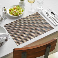Front of the House XPM053COV83 Metroweave 16 inch x 12 inch Copper Large Basketweave Woven Vinyl Rectangle Placemat - 12/Pack