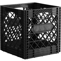 Black 16 Qt. Customizable Super Square Milk Crate - 14 3/4 inch x 14 3/4 inch x 14 7/8 inch