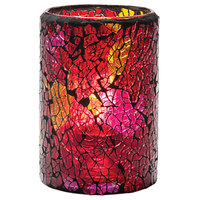 Hollowick 43017RG Crackle Red and Gold Glass Cylinder Lamp