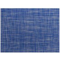 Front of the House XPM123BLV83 Metroweave 16 inch x 12 inch Cobalt Mesh Woven Vinyl Rectangle Placemat - 12/Pack