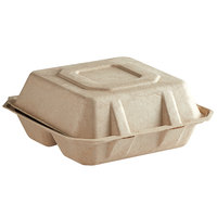 Tellus Products TE26F 8 inch x 8 inch Natural Bagasse 3-Compartment Clamshell Container   - 200/Case