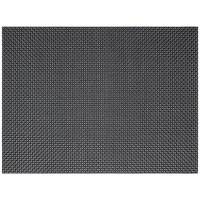 Front of the House XPM085BKV83 Metroweave 16 inch x 12 inch Black Basketweave Woven Vinyl Rectangle Placemat - 12/Pack