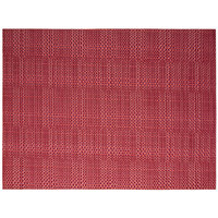 Front of the House XPM089RDV83 Metroweave 16 inch x 12 inch Red Random Weave Woven Vinyl Rectangle Placemat - 12/Pack