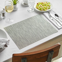 Front of the House XPM041SIV83 Metroweave 16 inch x 12 inch Silver Basketweave Woven Vinyl Rectangle Placemat - 12/Pack