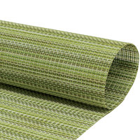 Front of the House XPM091GRV83 Metroweave 16 inch x 12 inch Greens Mesh Woven Vinyl Rectangle Placemat - 12/Pack