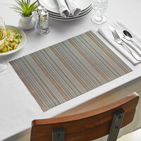 Front of the House XPM087BRV83 Metroweave 16 inch x 12 inch Blues Mesh Woven Vinyl Rectangle Placemat - 12/Pack
