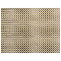 Front of the House XPM117TAV83 Metroweave 16 inch x 12 inch Tan Large Basketweave Woven Vinyl Rectangle Placemat - 12/Pack