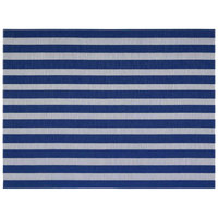 Front of the House XPM102BLV83 Metroweave 16 inch x 12 inch Blue Nautical Woven Vinyl Rectangle Placemat - 12/Pack