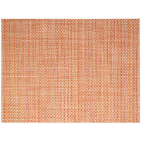 Front of the House XPM101ORV83 Metroweave 16 inch x 12 inch Apricot Basketweave Woven Vinyl Rectangle Placemat - 12/Pack