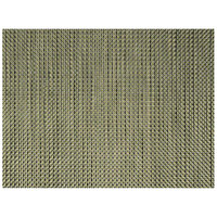 Front of the House XPM050GOV83 Metroweave 16 inch x 12 inch Gold Basketweave Woven Vinyl Rectangle Placemat - 12/Pack