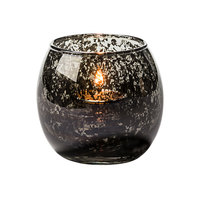 Hollowick 5119ABK Small Antique Black Glass Bubble Tealight Lamp