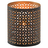 Hollowick 6105 Monarch Black and Gold Perforated Metal Votive