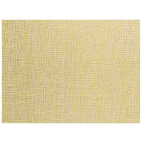 Front of the House XPM131YEV83 Metroweave 16 inch x 12 inch Citrus Husk Woven Vinyl Rectangle Placemat - 12/Pack