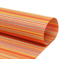 Front of the House XPM088ORV83 Metroweave 16 inch x 12 inch Oranges Mesh Woven Vinyl Rectangle Placemat - 12/Pack