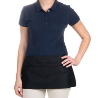 Choice 12 inch x 24 inch Black Front of the House Waist Apron