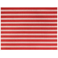 Front of the House XPM109RDV83 Metroweave 16 inch x 12 inch Coral Nautical Woven Vinyl Rectangle Placemat - 12/Pack