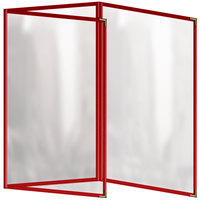 H. Risch, Inc. TET Deluxe Sewn 8 1/2 inch x 14 inch Red 6 View Foldout Vinyl Menu Cover