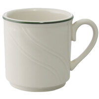 Homer Laughlin 1569619 Lyrica Lydia Green 8.25 oz. Off White China Mug - 36/Case