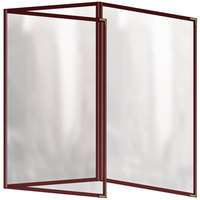 H. Risch, Inc. TET Deluxe Sewn 8 1/2 inch x 14 inch Maroon 6 View Foldout Vinyl Menu Cover
