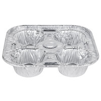 D&W Fine Pack 19430 4 Cavity Foil Texas / Jumbo Muffin Pan   - 250/Case