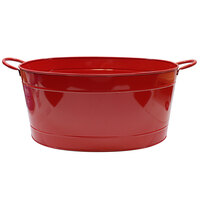 Tablecraft BBQBT2114 7 Gallon Oval Red-Coated Steel Beverage Tub - 21 3/4 inch x 14 1/4 inch x 9 1/4 inch