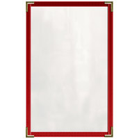 H. Risch, Inc. TED Deluxe Sewn 8 1/2 inch x 14 inch Red 4 View Vinyl Menu Cover