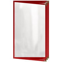 H. Risch, Inc. TETB Deluxe Sewn 8 1/2 inch x 14 inch Red 6 View Vinyl Menu Cover