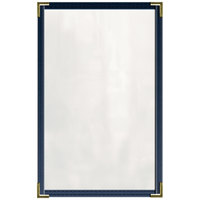 H. Risch, Inc. TED Deluxe Sewn 8 1/2 inch x 14 inch Blue 4 View Vinyl Menu Cover