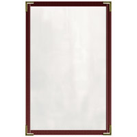 H. Risch, Inc. TED Deluxe Sewn 8 1/2 inch x 14 inch Maroon 4 View Vinyl Menu Cover